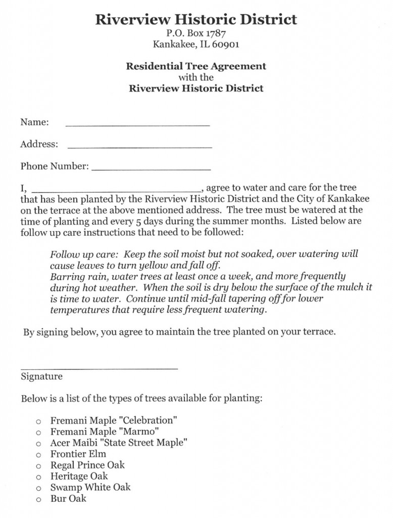riverview tree agreement